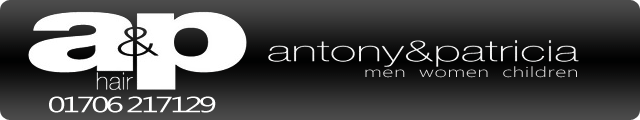 Advertising banner for Antony and Patricia hairdressers in Rossendale