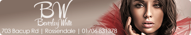 Advertising banner for Beverley White Beauty in Rossendale