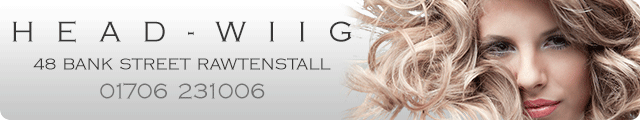 Advertising banner for Headwiig Hair Studio in Rossendale