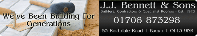 Advertising banner for J.J. Bennett & Sons Builders in Rossendale