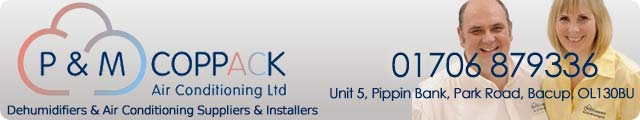 Advertising banner for P & M Coppack Air Conditioning Ltd in Rossendale