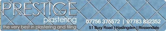Advertising banner for Prestige Plastering