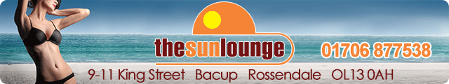 Advertising banner for The Sun Lounge in Rossendale