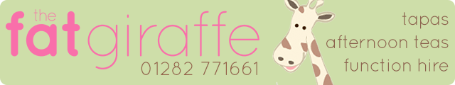 Advertising banner for The Fat Giraffe Restaurant in Padiham